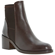 Buy Dune Padre Leather Mid Heel Chelsea Ankle Boots, Brown Online at johnlewis.com