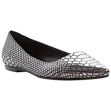 Buy Dune Amarie Reptile Pointed Flats, Pewter Online at johnlewis.com