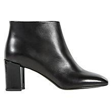 Buy Hobbs Leonie Leather Block Heeled Ankle Boots, Black Online at johnlewis.com