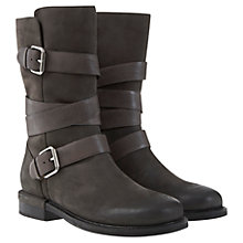 Buy Mint Velvet Izzy Leather Calf Boots, Charcoal Grey Online at johnlewis.com