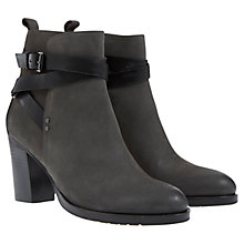 Buy Mint Velvet Iris Leather Nubuck Strap Boots, Grey/Black Online at johnlewis.com