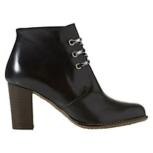 Buy NW3 by Hobbs Dana Leather Lace Up Heeled Shoe Boots, Black Online at johnlewis.com