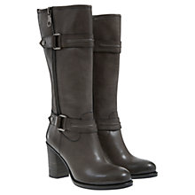 Buy Mint Velvet Willow Leather Mid Boots, Grey Online at johnlewis.com