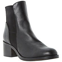 Buy Dune Padre Leather Mid Heel Chelsea Ankle Boots, Black Online at johnlewis.com