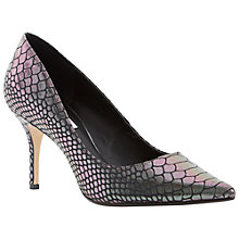 Buy Dune Alina Stiletto Heeled Court Shoes, Reptile Pewter Online at johnlewis.com