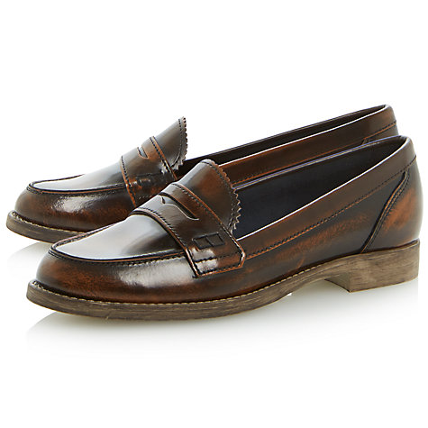 Buy Dune Lexus Leather Loafers, Dark Tan Online at johnlewis.com