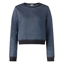 Buy Jigsaw Crop Stripe Sweatshirt, Blue Online at johnlewis.com