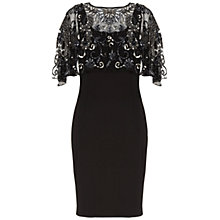 Buy Gina Bacconi Scuba Dress with Beaded Cape, Black Online at johnlewis.com