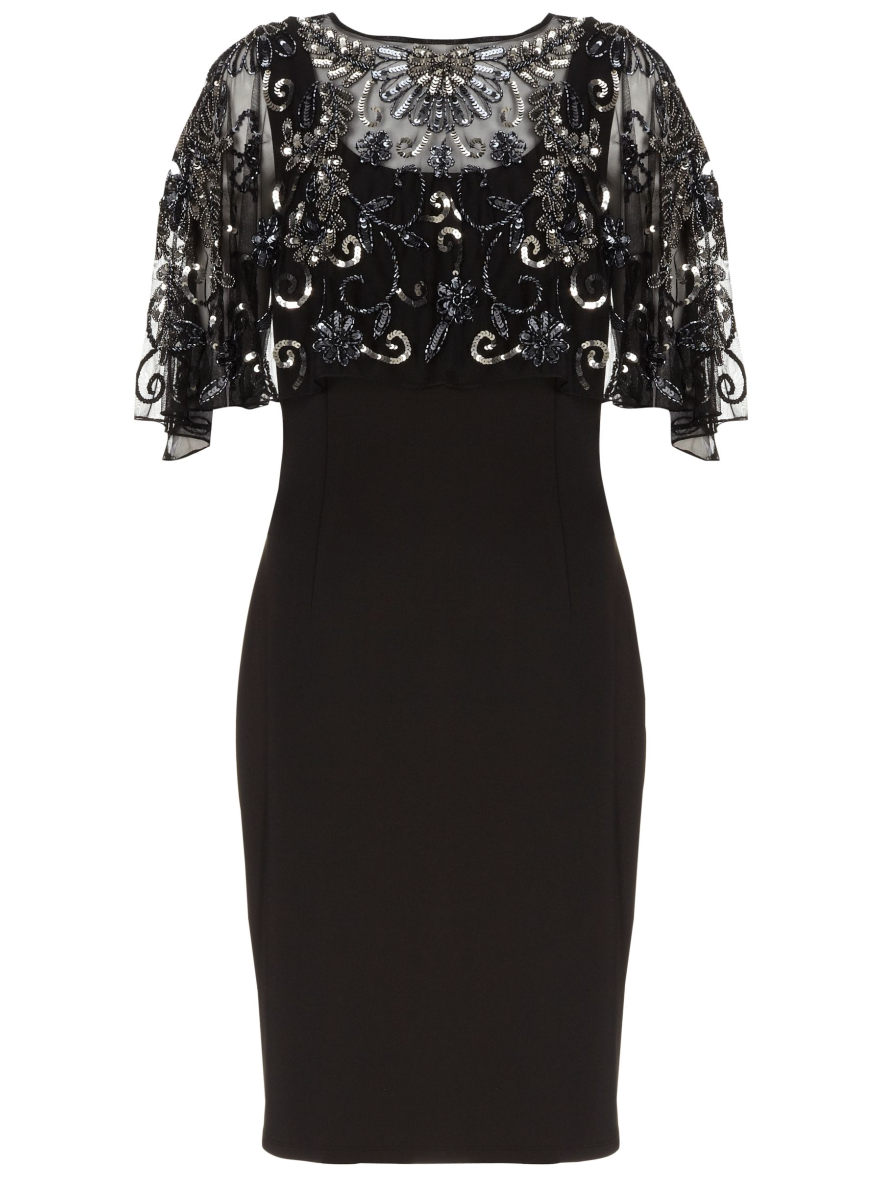 Gina Bacconi Scuba Dress with Beaded Cape, Black