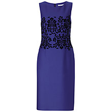 Buy Gina Bacconi Flocked Waist Detail Dress, Blue Online at johnlewis.com