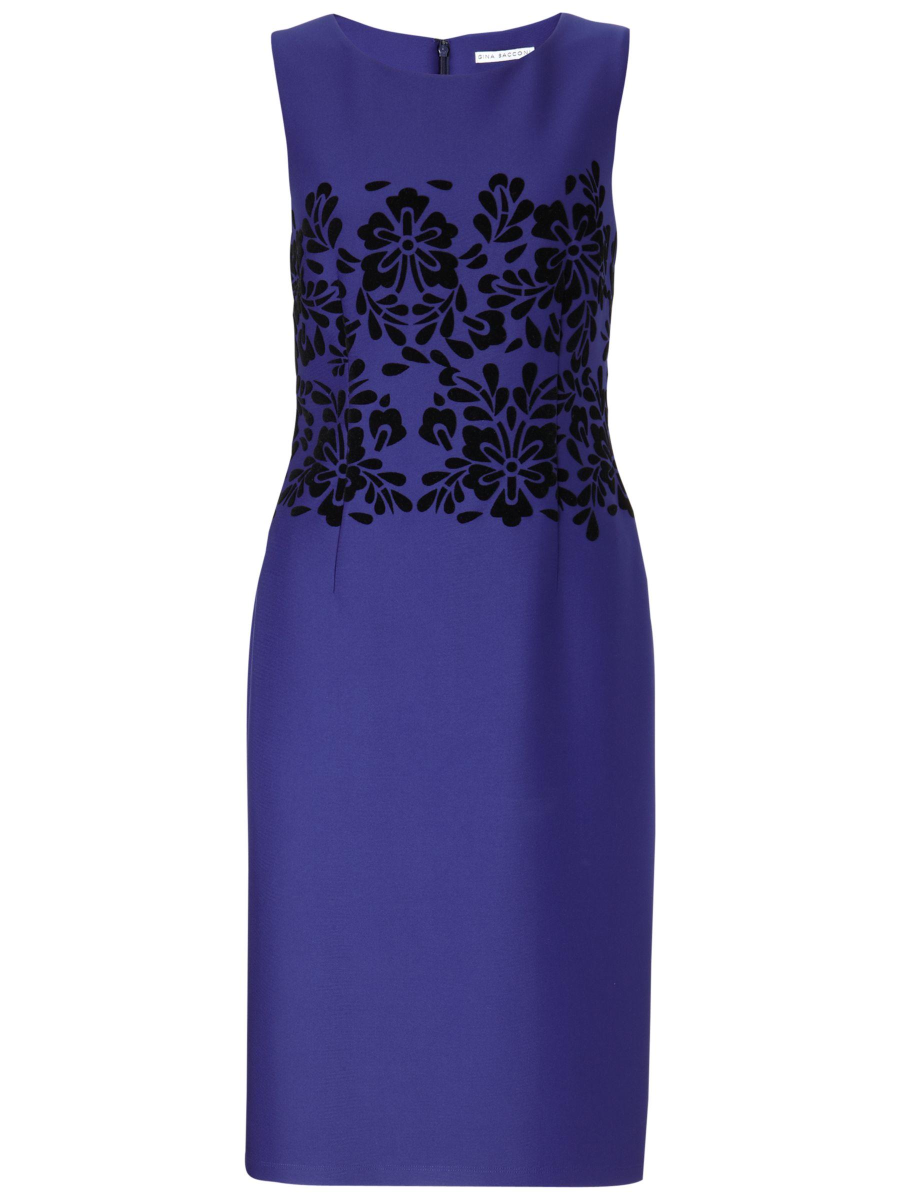 Gina Bacconi Flocked Waist Detail Dress, Blue