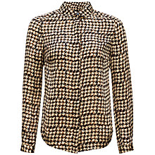 Buy Jaeger Blurred Dogstooth Blouse, Camel / Black Online at johnlewis.com