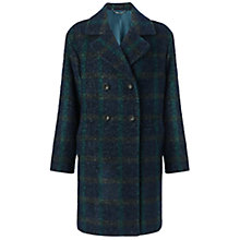 Buy Jigsaw Brushed Check Boucle Coat, Green Online at johnlewis.com