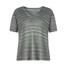 Buy Jigsaw Stripe Marl V-neck T-shirt, Grey Online at johnlewis.com