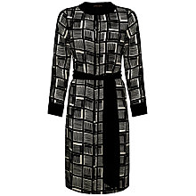 Buy Jaeger Cube Print Silk Dress, Ivory / Black Online at johnlewis.com