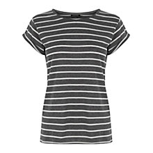 Buy Warehouse Stripe Boyfriend T-shirt, Grey Online at johnlewis.com