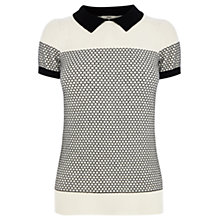 Buy Oasis Geo Peter Pan Collar Top, Off White Online at johnlewis.com