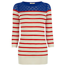 Buy Oasis Colour Block Breton Top, Off White Online at johnlewis.com