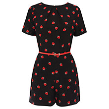 Buy Oasis Strawberry Print Playsuit, Black Multi Online at johnlewis.com