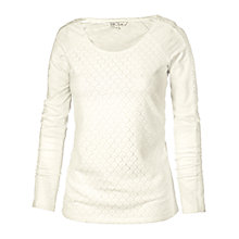 Buy Fat Face Lyla Lace Front Long Sleeve T-Shirt, Soft Ivory Online at johnlewis.com