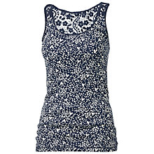 Buy Fat Face Lace Back Mono Leaf Vest Top Online at johnlewis.com