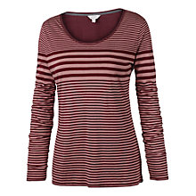 Buy Fat Face Long Sleeved Varigated Striped T-Shirt, Bordeaux Online at johnlewis.com