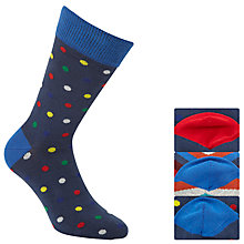 Buy John Lewis Spot and Zigzag Socks, Pack of 3, Navy/Multi Online at johnlewis.com