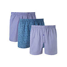 Buy John Lewis Jon Woven Boxers, Pack of 3, Blue Online at johnlewis.com