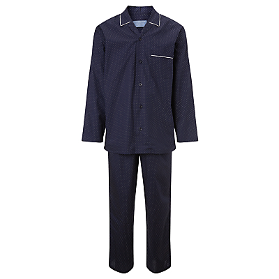 John Lewis Poplin Cotton Spotted Pyjama Set, Navy