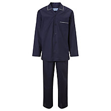 Buy John Lewis Poplin Cotton Spotted Pyjama Set, Navy Online at johnlewis.com