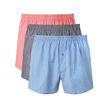 Buy John Lewis Classic Striped Boxers, Pack of 3, Blue/Navy/Red Online at johnlewis.com