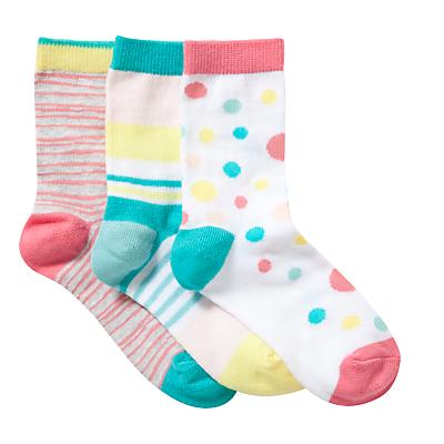 Kin by John Lewis Girls' Stripe & Spot Socks, Pack of 3, Multi