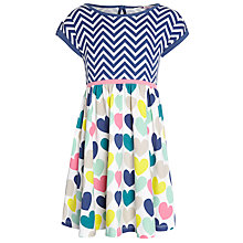 Buy John Lewis Girl Chevron & Heart Dress, Multi Online at johnlewis.com