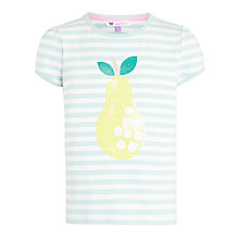 Buy John Lewis Girl Stripe Sequin Pear T-Shirt, Turquoise/White Online at johnlewis.com