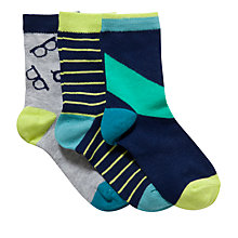Buy Kin by John Lewis Boys' Glasses Socks, Pack of 3, Multi Online at johnlewis.com