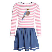 Buy John Lewis Girl Bird Sequin Stripe Dress, Pink Online at johnlewis.com