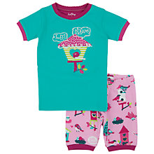 Buy Hatley Girls' Bird House Short Pyjamas, Turquoise/Pink Online at johnlewis.com