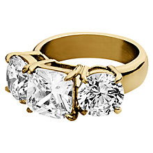 Buy Dyrberg/Kern Charis Triple Swarovski Crystal Ring, Gold Online at johnlewis.com