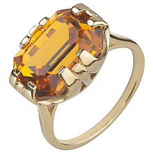 Buy Cabinet 9ct Gold Plated Swarovski Crystal Beetle Rectangle Ring, Topaz Online at johnlewis.com