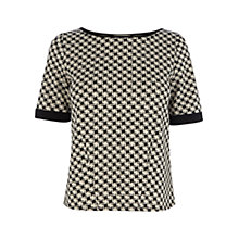 Buy Oasis Dogtooth Print Tee, Black / White Online at johnlewis.com