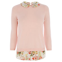 Buy Oasis Botanical 2 in 1 Jumper, Pale Pink Online at johnlewis.com