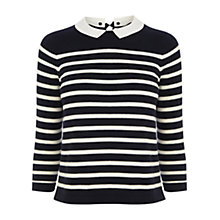 Buy Oasis Cropped Bretton Collar Jumper, Navy Online at johnlewis.com