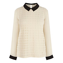 Buy Oasis Geo Mesh Blouse, Off White Online at johnlewis.com