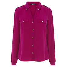 Buy Oasis Button Tab Shirt, Bright Pink Online at johnlewis.com