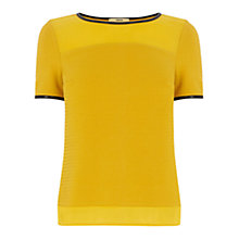 Buy Oasis Chiffon Hem Faux Leather Trim Tee, Ochre Online at johnlewis.com