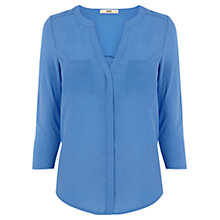 Buy Oasis Tipped Woven Front Shirt, Mid Blue Online at johnlewis.com