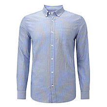 Buy John Lewis Oxford Stripe Long Sleeve Shirt, Navy Online at johnlewis.com