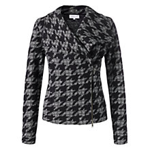 Buy Jigsaw Dogtooth Woollen Biker Jacket, Blue Online at johnlewis.com