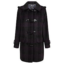 Buy Four Seasons Check Duffle Coat, Graphite/Purple Online at johnlewis.com