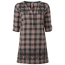 Buy White Stuff Forest Check Embroidered Tunic Dress, Privet Green Online at johnlewis.com